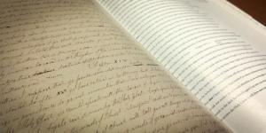 Facsimile of the Printer's Manuscript. Photograph by Book of Mormon Central